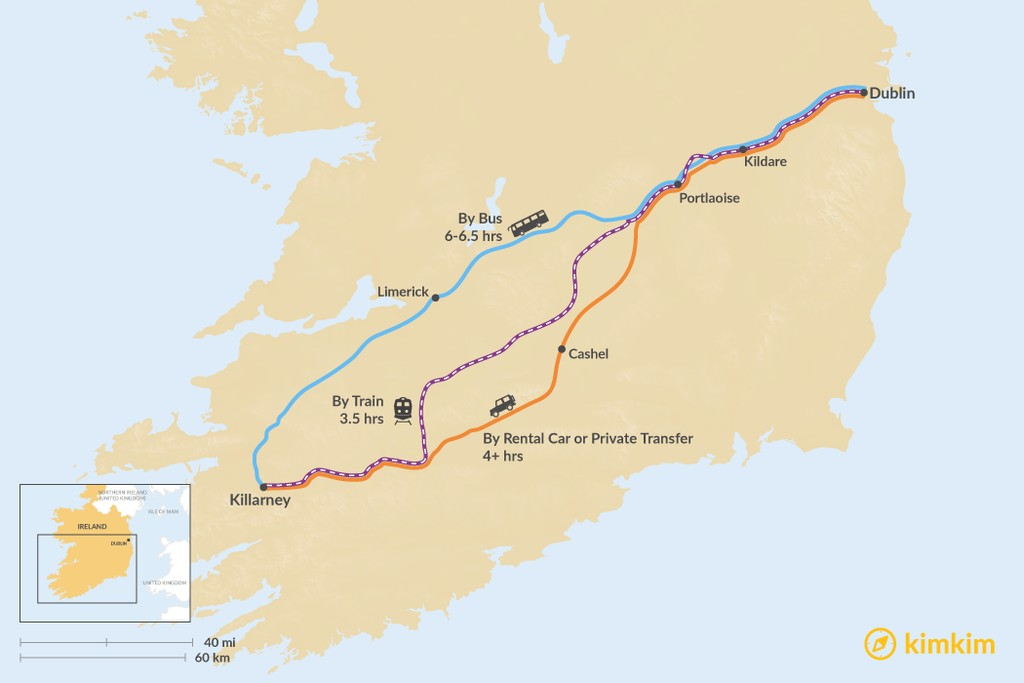 Map of How to Get from Dublin to the Ring of Kerry