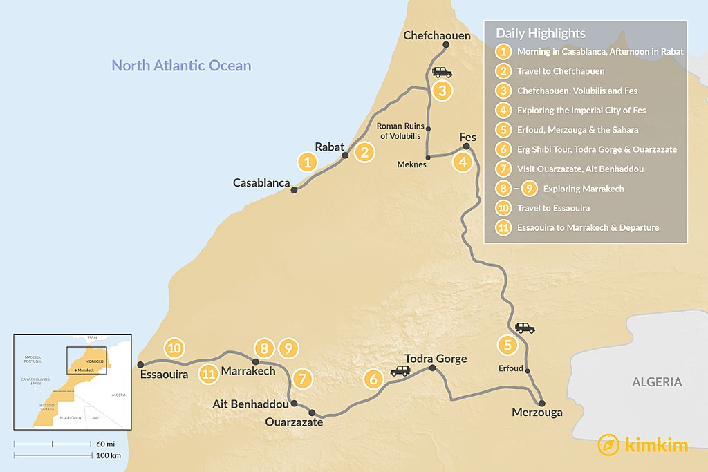 Map of Morocco Grand Tour: Cities, Desert & the Coast - 11 Days