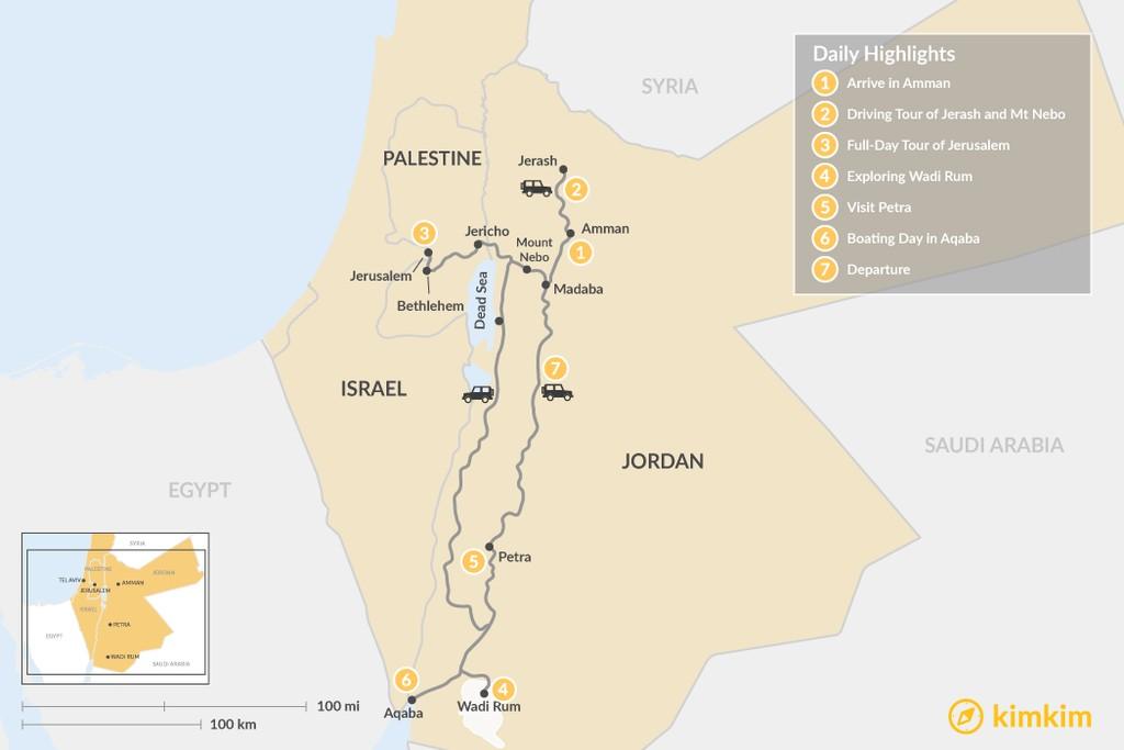 Map of Jordan and Jerusalem: Amman, Madaba, Wadi Rum, Petra, and Aqaba - 7 Days