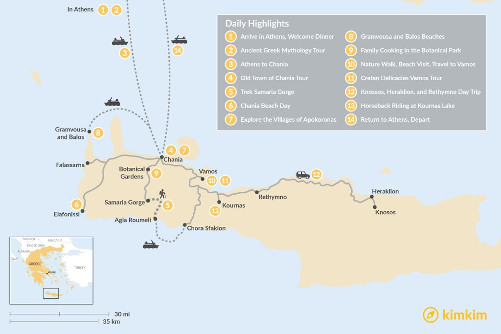 Map of Athens and Crete Family Adventure - 14 Days