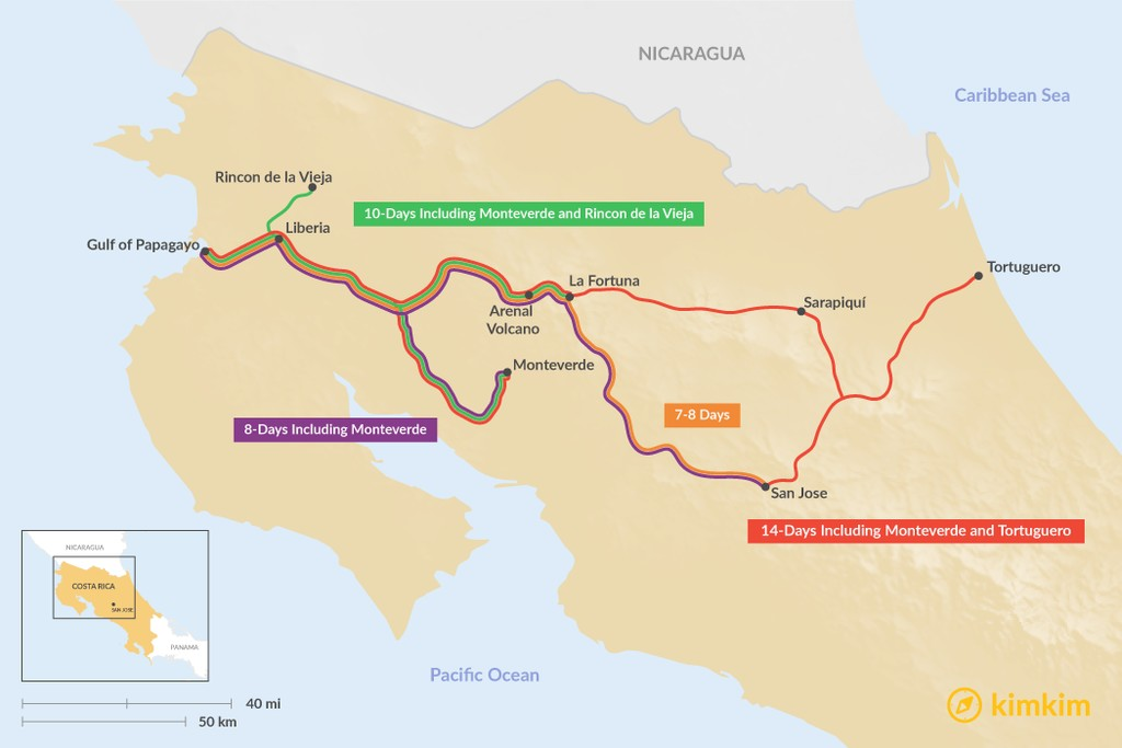 Map of Arenal & Gulf of Papagayo: Best Itinerary Ideas