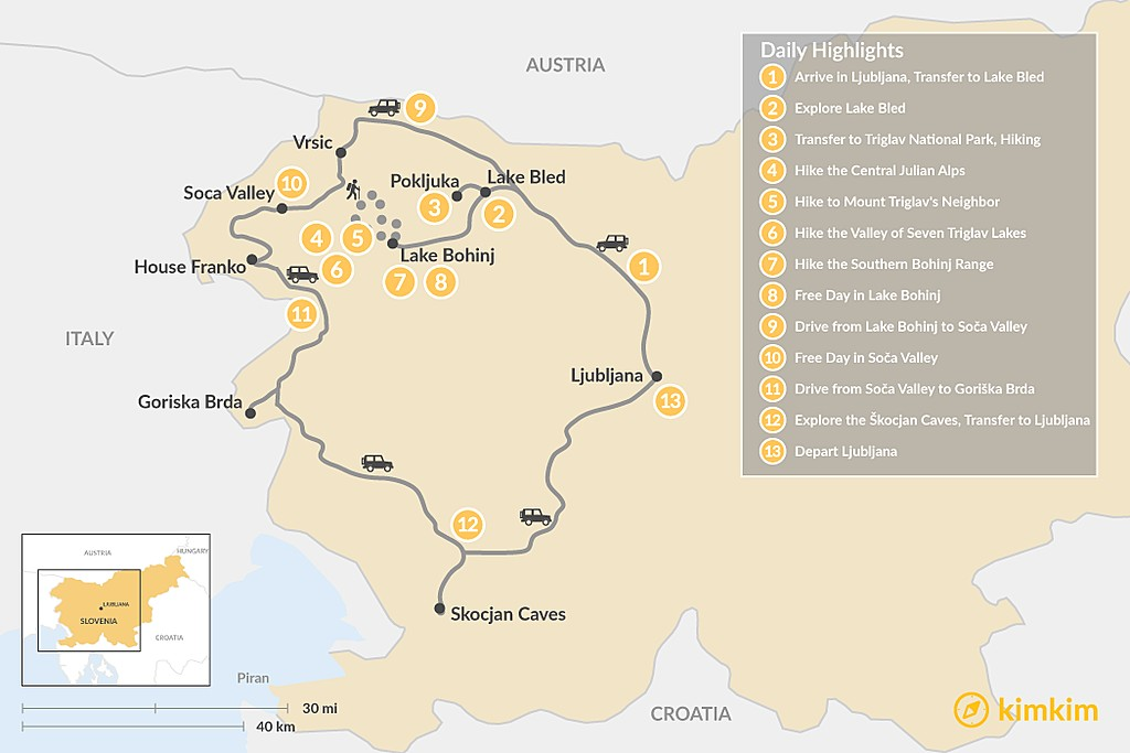 Map of Slovenia Alpine Adventure: Triglav, Lake Bled, and the Soča Valley - 13 Days