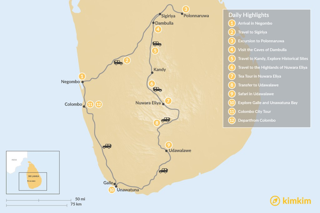 Map of Highlights of Sri Lanka - 12 Days
