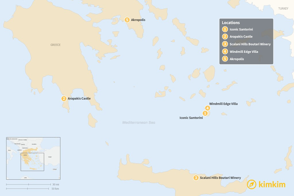 Map of Beyond Hotels: 5 Unique Lodging Options in Greece