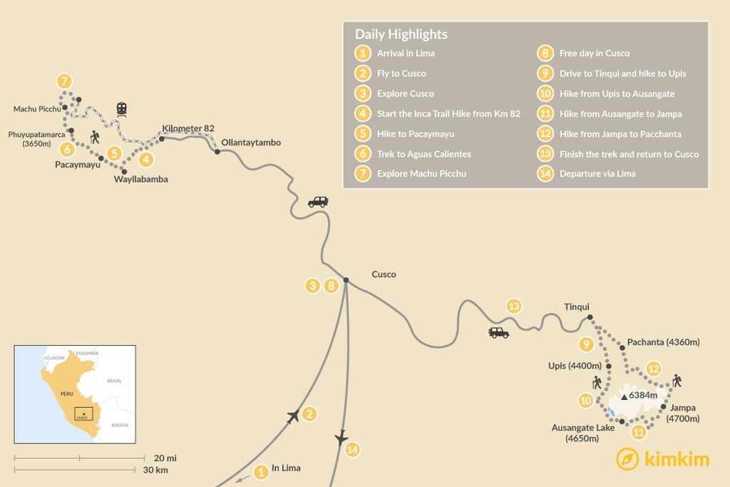 Map of Inca Trail & Ausangate Trek - 14 Days
