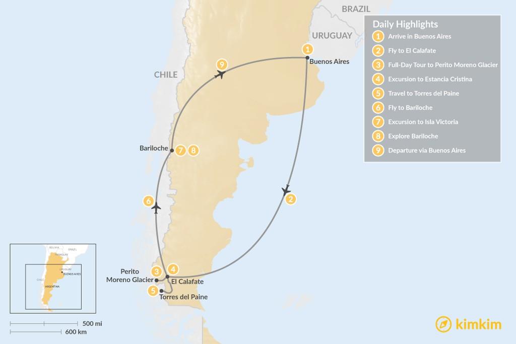 Map of Bariloche & El Calafate Classic Tour - 9 Days