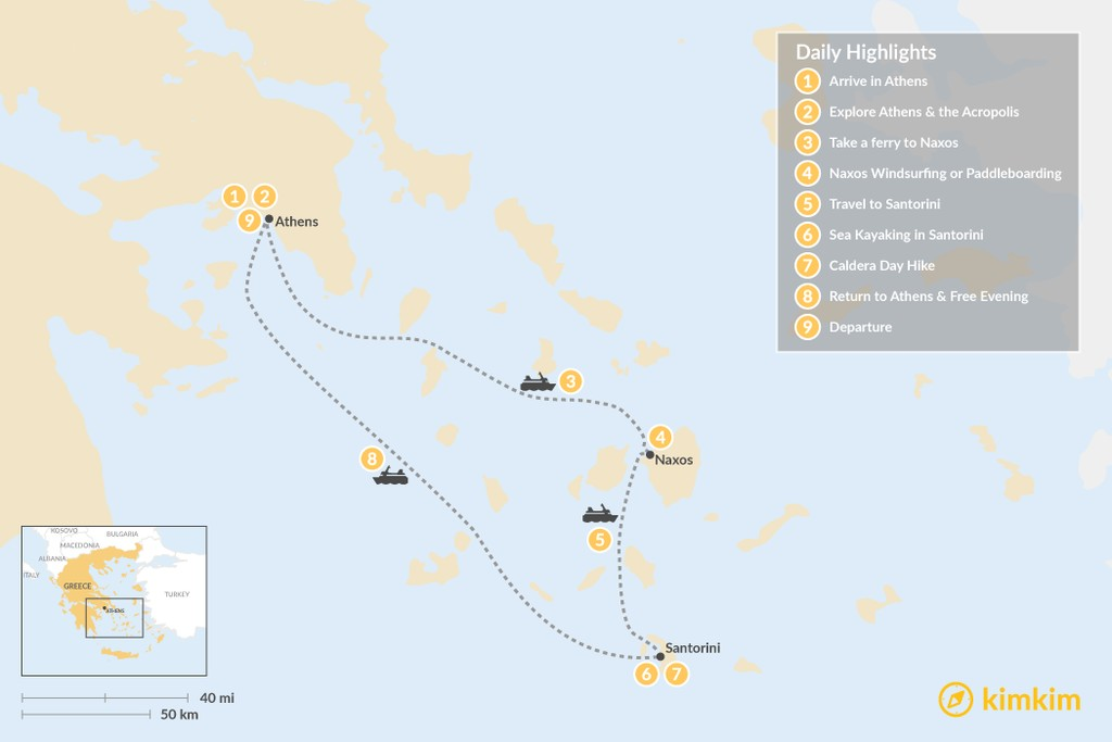 Map of Culture & Adventure in Athens, Naxos & Santorini  - 9 Days