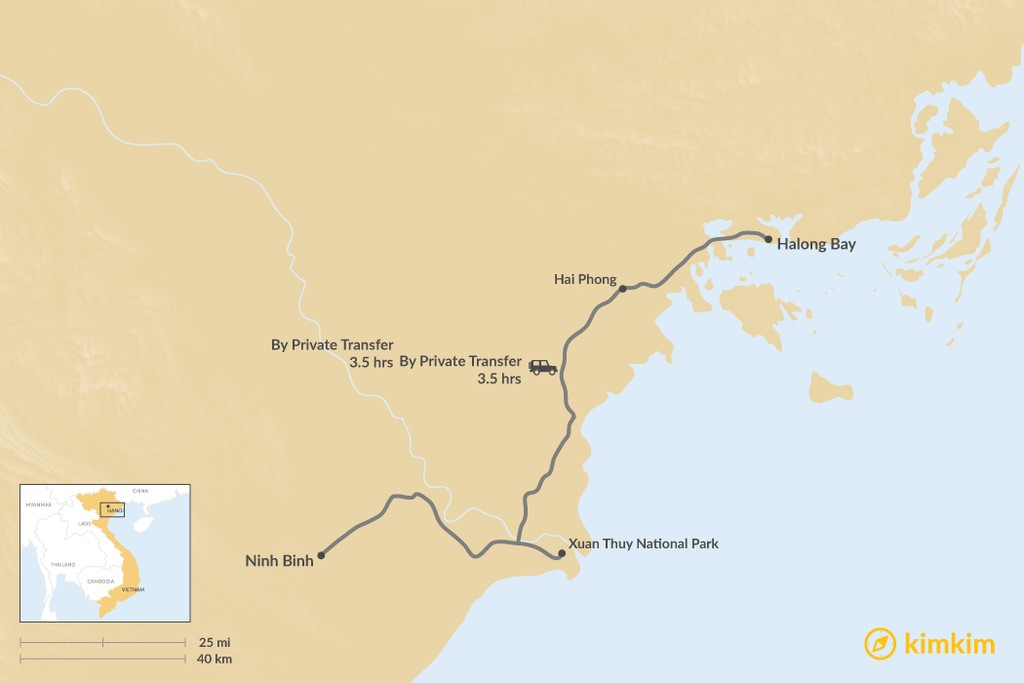 Map of How to Get from Ninh Binh to Halong Bay