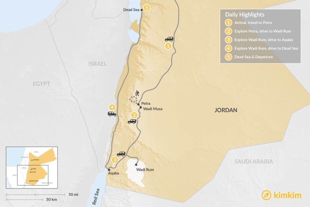Map of Golden Triangle & Dead Sea - 5 Days