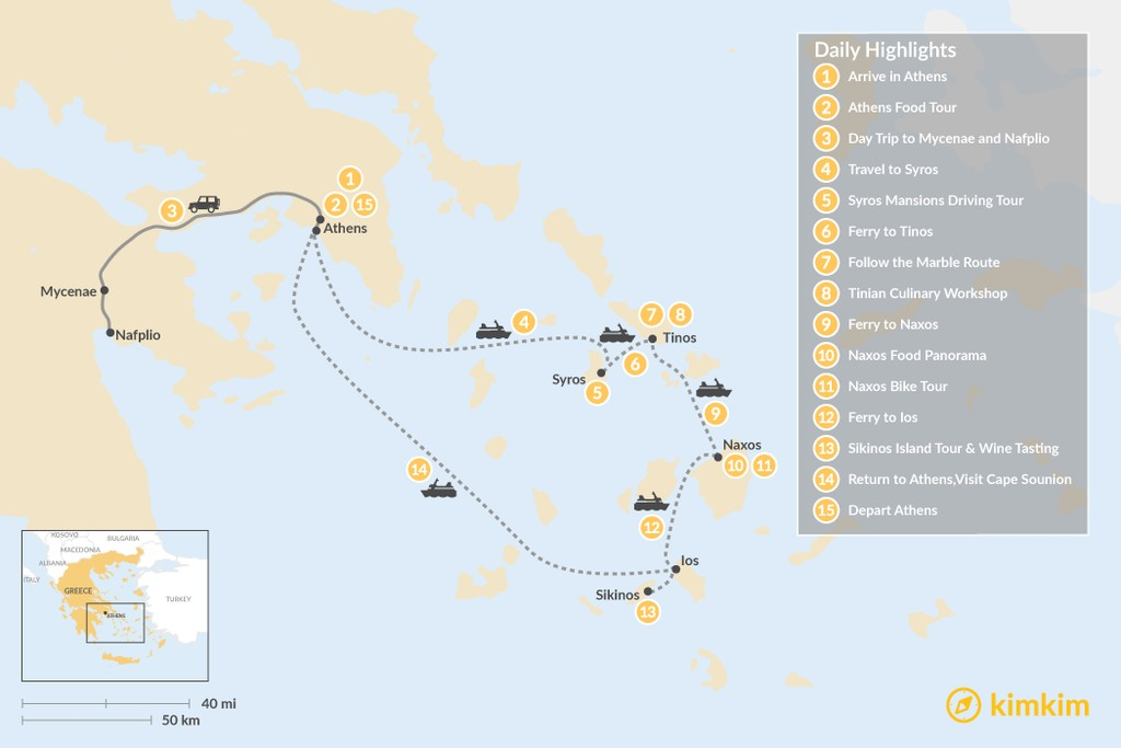 Map of Relaxing Secret Cyclades - 15 Days