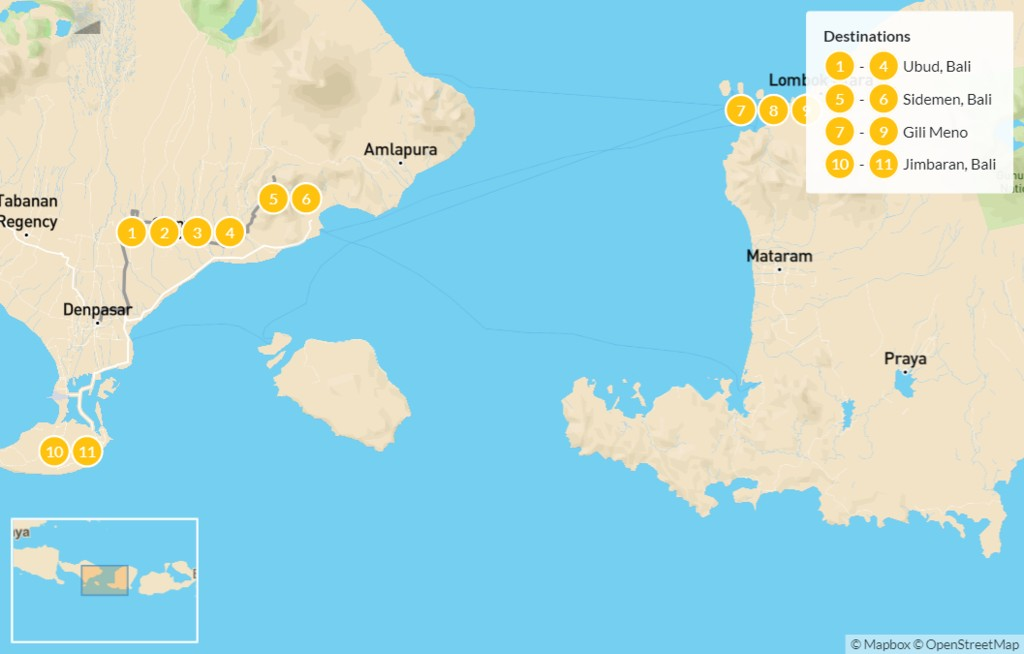 Map of Discover Bali: Temples, Trekking, Volcanoes & Gili Islands - 12 Days