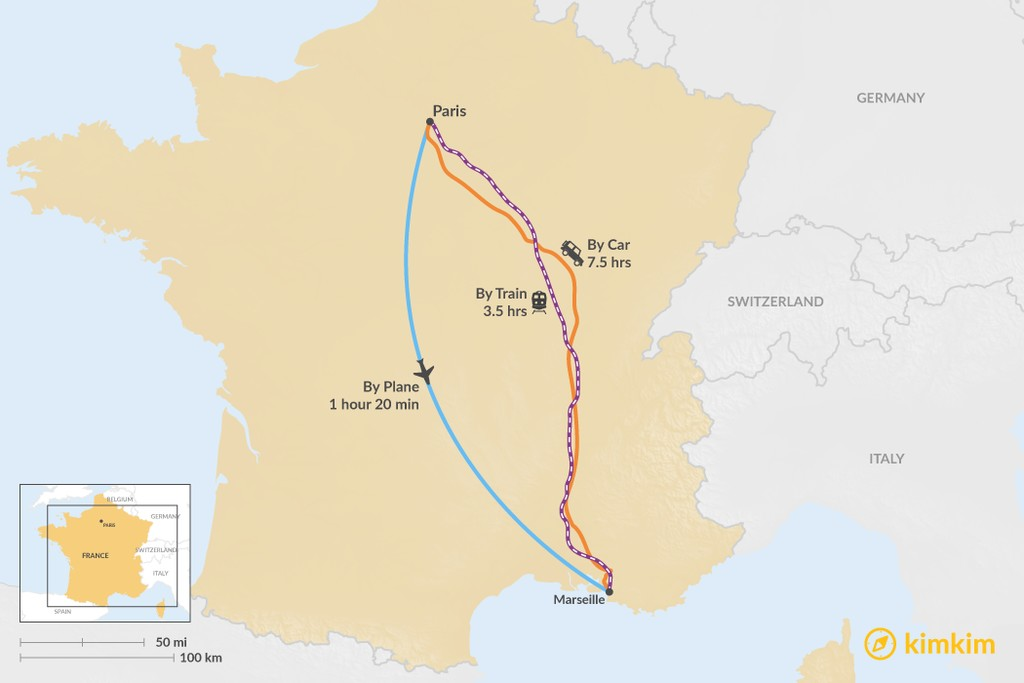 Map of How to Get from Paris to Marseille