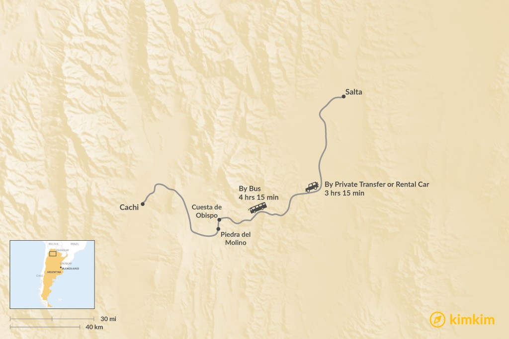 Map of How to Get from Salta to Cachi