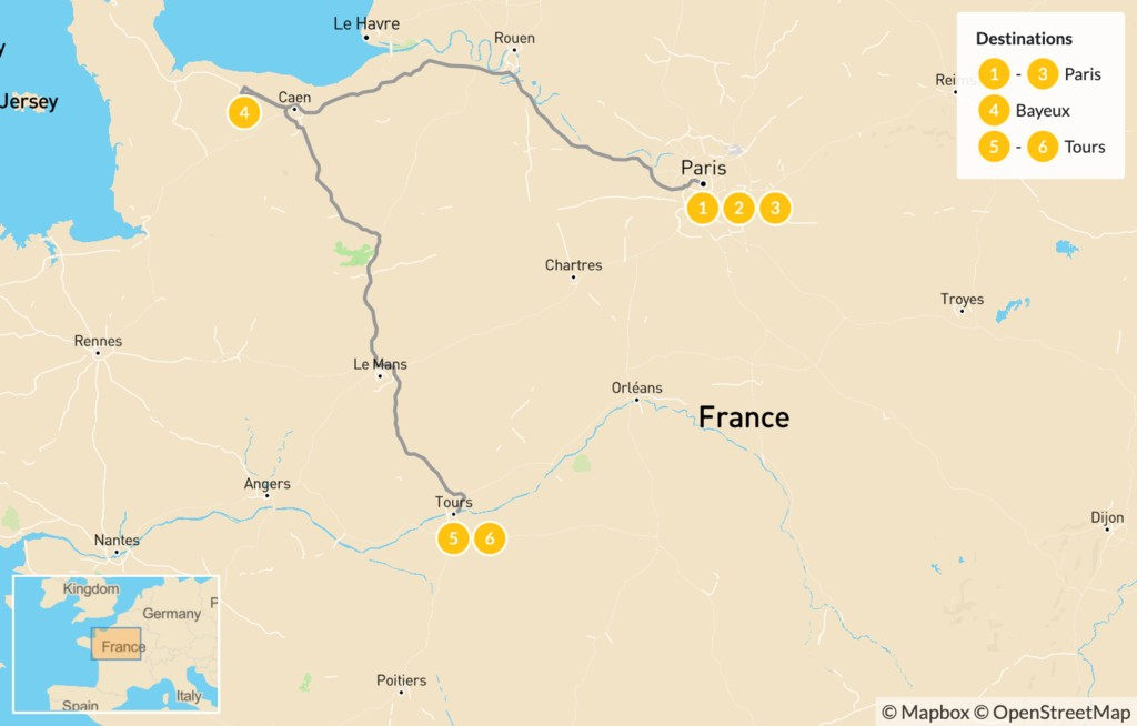 Map of Road Trip through Western France: Paris, Normandy, & the Loire Valley - 7 Days