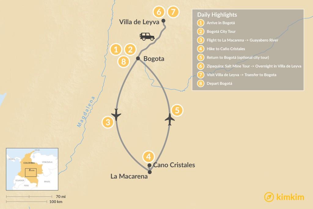 Map of Bogotá, Caño Cristales, & Highlands Tour - 8 Days