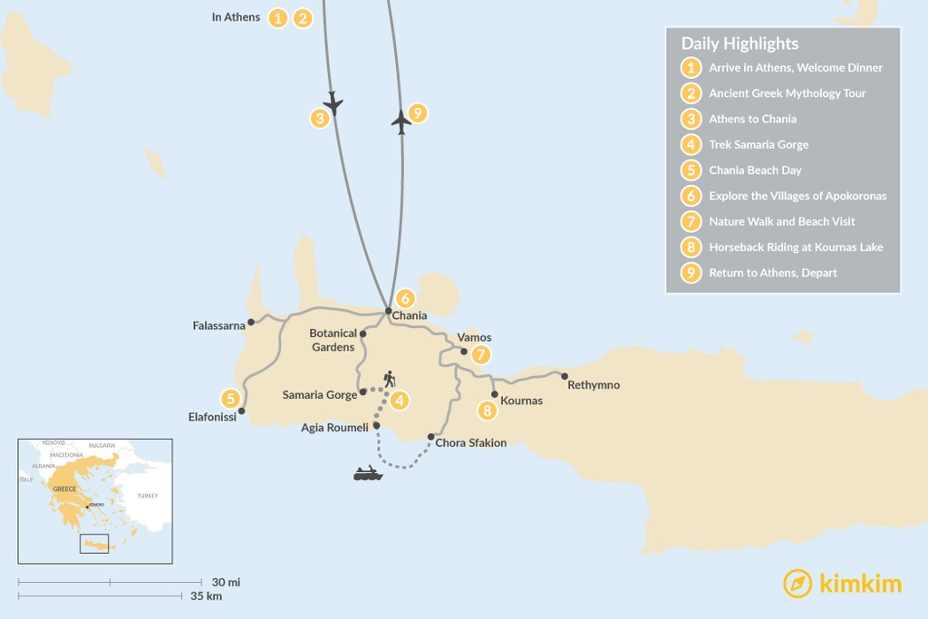 Map of Athens and Crete Family Adventure - 9 Days