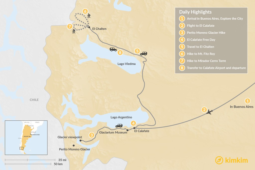 Map of Los Glaciares National Park & Fitz Roy - 8 Days