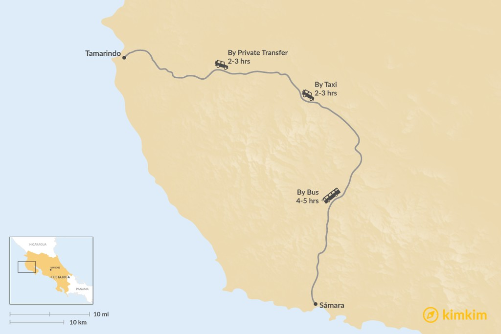 Map of How to Get from Tamarindo to Sámara