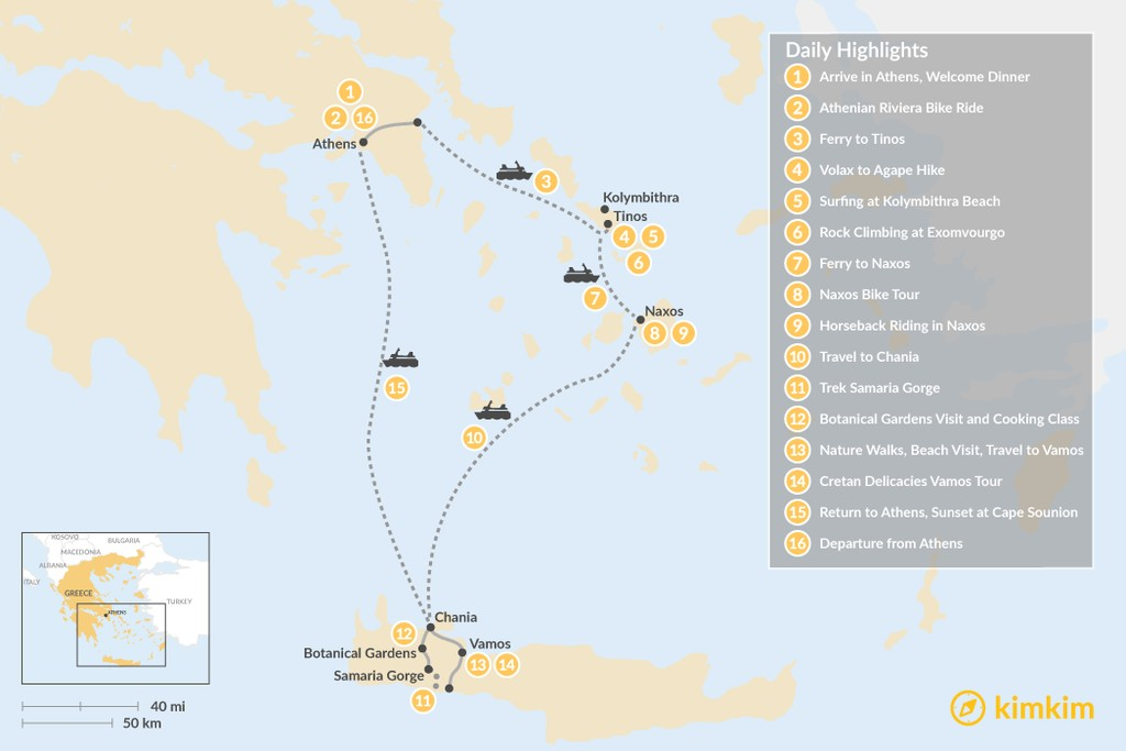 Map of Active Athens, Tinos, Naxos, and Crete - 16 Days