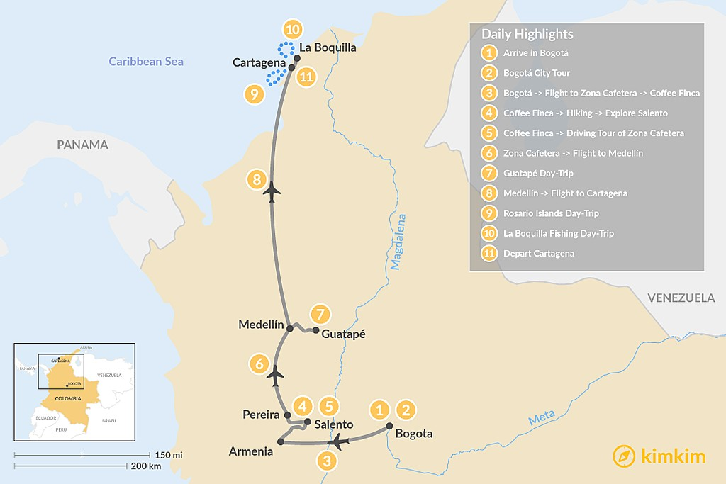 Map of Colombia's Cities & Coffee Region - 11 Days
