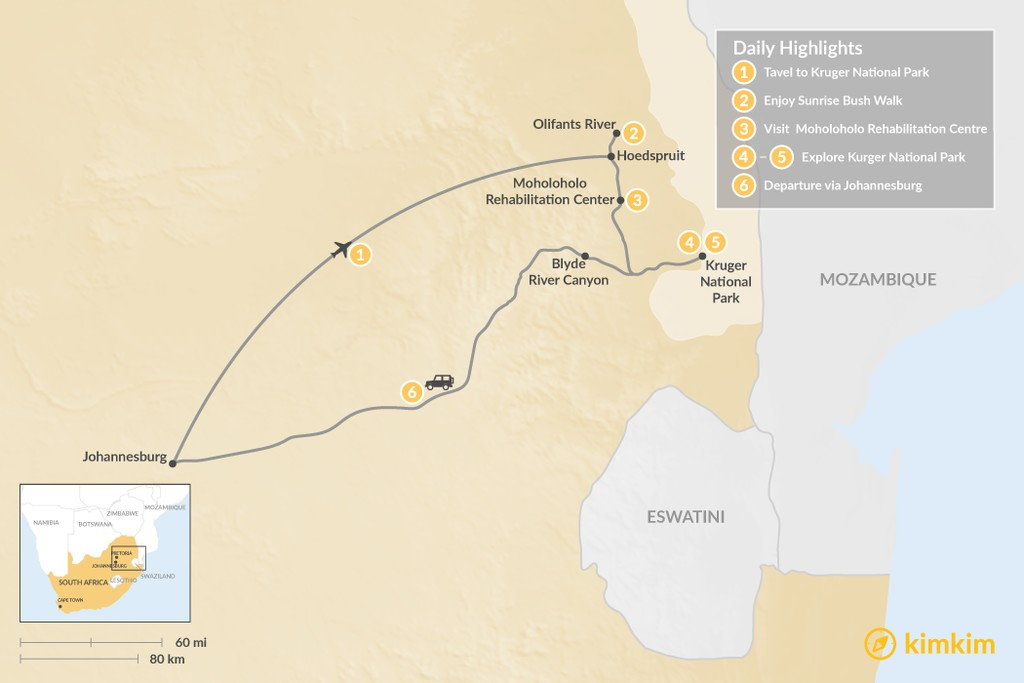 Map of South Africa Safari: Kruger National Park - 6 Days