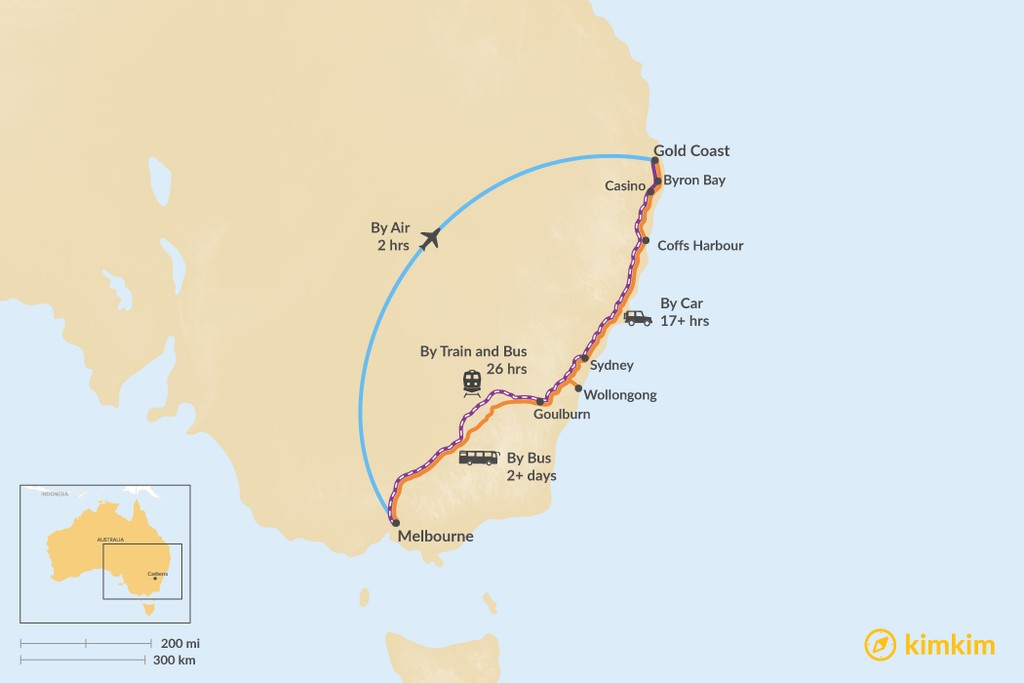 Map of How to Get from Melbourne to the Gold Coast