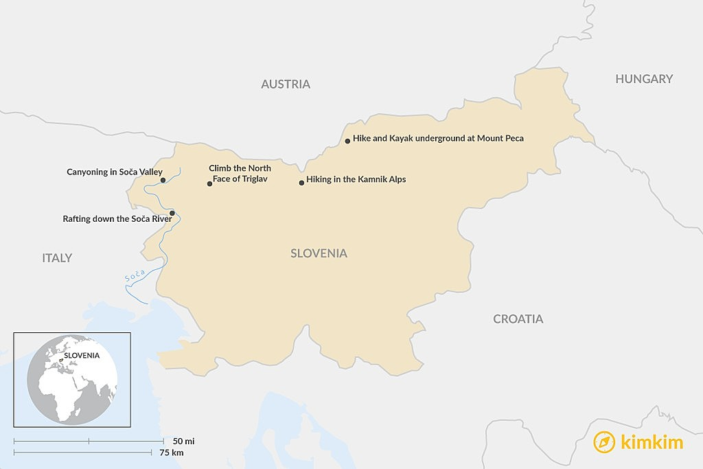 Map of Top 5 Adventures in Slovenia