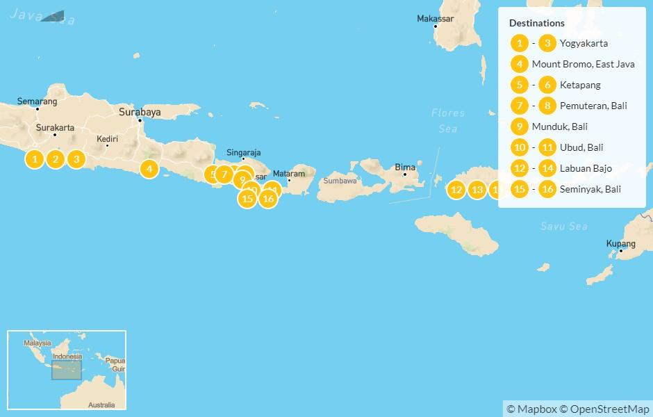 Map of Indonesia: Java, West Bali, & Komodo - 17 Days