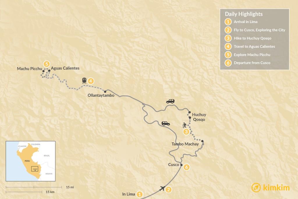 Map of Huchuy Qosqo & Machu Picchu - 6 Days