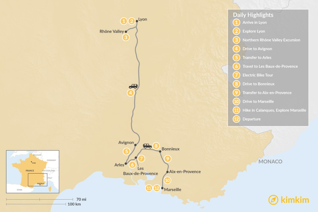 Map of Rhône Valley Family Tour: Lyon to Marseille - 12 Days