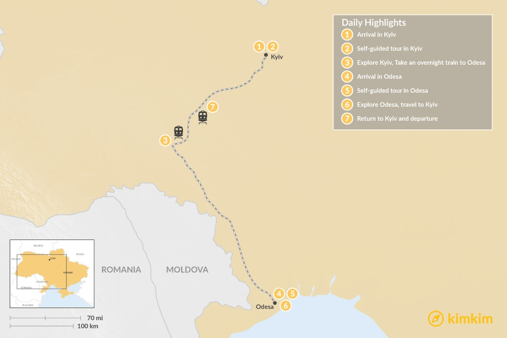 Map of Ukraine Self-Guided Tour: Kyiv & Odesa - 7 Days