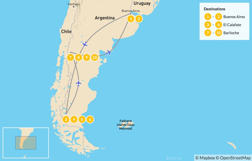 Map of Buenos Aires, El Calafate & Bariloche - 11 Days