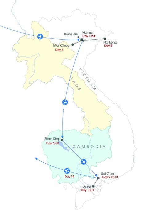Map of Family-Friendly Vietnam & Cambodia - 14 Days