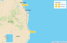 Map thumbnail of Gold Coast & Byron Bay - 7 Days