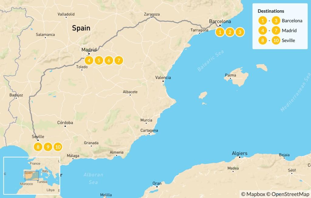 Map of Spain Luxury Tour: Barcelona, Madrid, & Seville - 11 Days