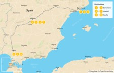Map thumbnail of Spain Luxury Tour: Barcelona, Madrid, & Seville - 11 Days