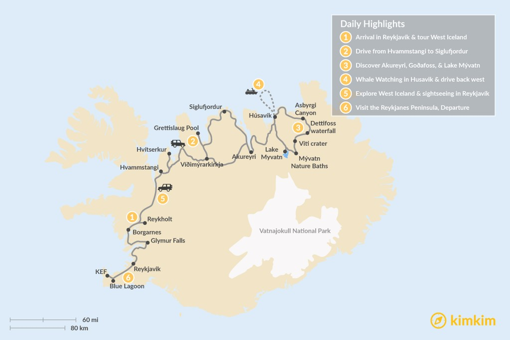 Map of Best of Northern Iceland: Arctic Coast & Lake Mývatn - 6 Days