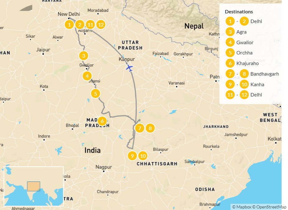 Map of Tiger Lands of Central India: Delhi, Agra, Bandhavgarh, & Kanha - 12 Days