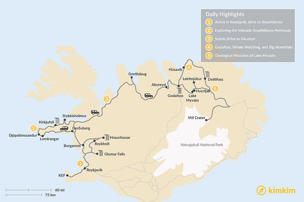 Map of 5-Day Self-Driving Tour: Snaefellsnes Peninsula, Akureyri, Myvatn Area