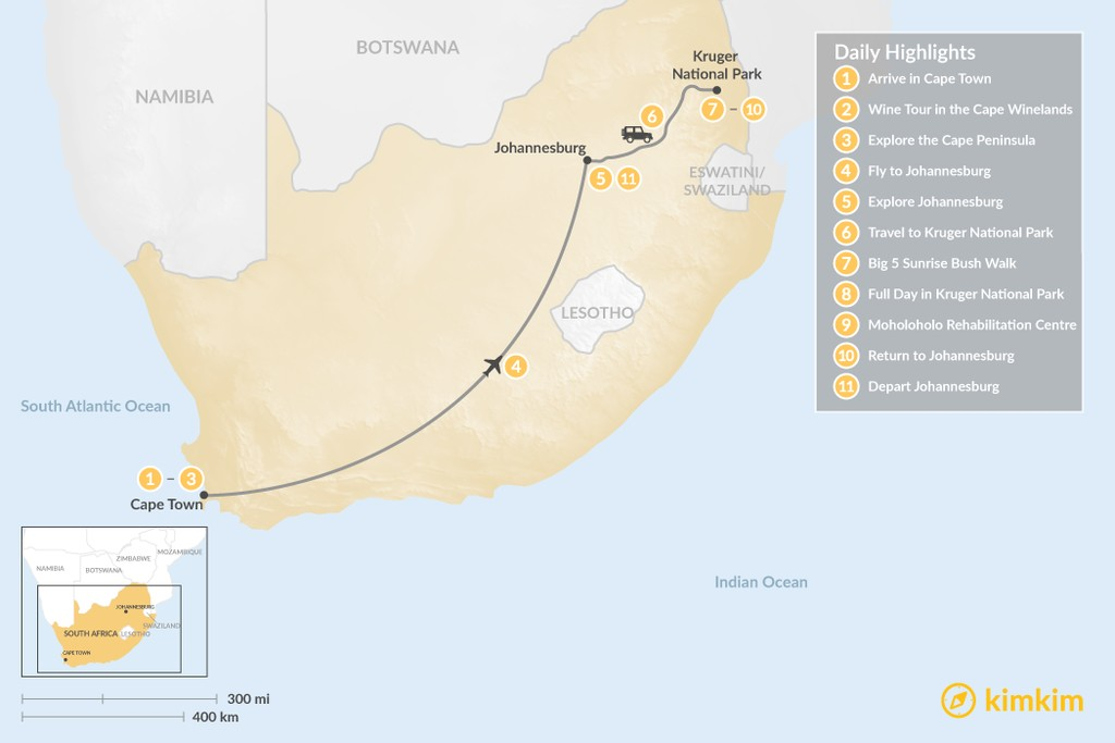 Map of Classic South Africa: Cape Town, Johannesburg, & Kruger Safari - 11 Days