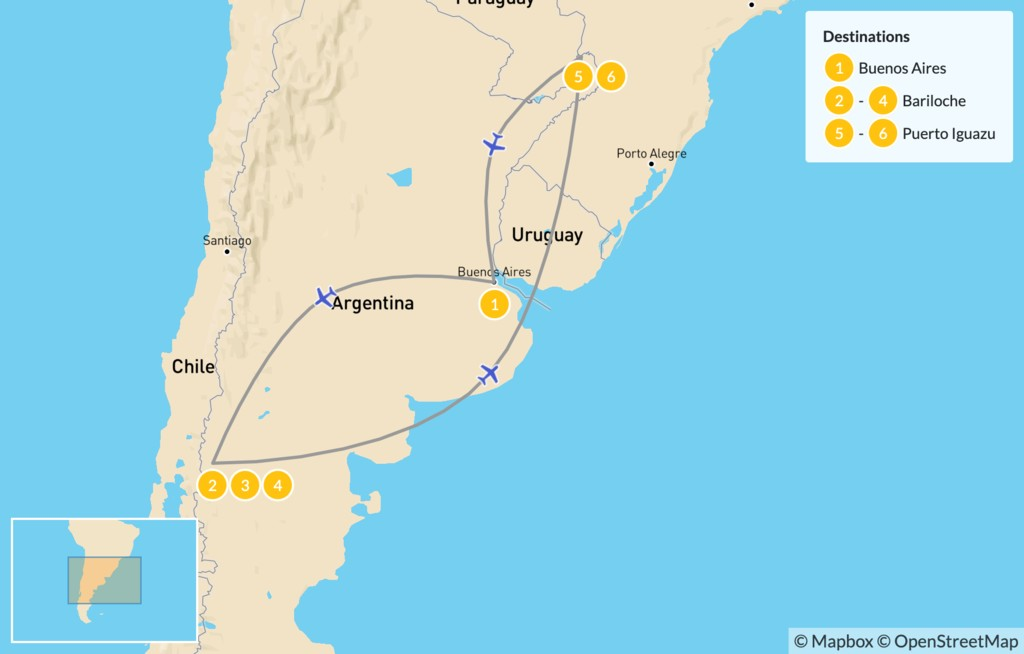 Map of Buenos Aires, Bariloche, & Iguazú falls - 7 Days