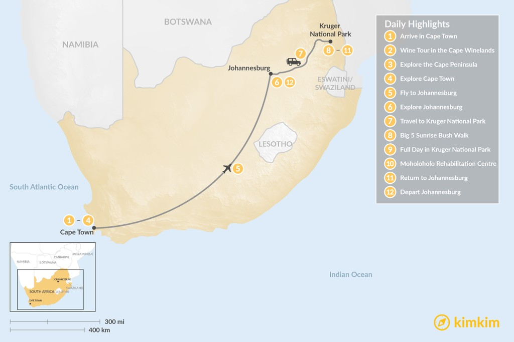 Map of Classic South Africa: Cape Town, Johannesburg, & Kruger Safari - 12 Days