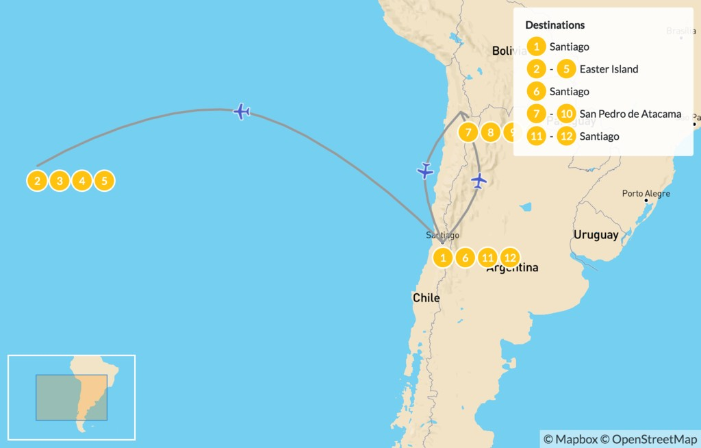 Map of Atacama Desert & Easter Island - 13 Days