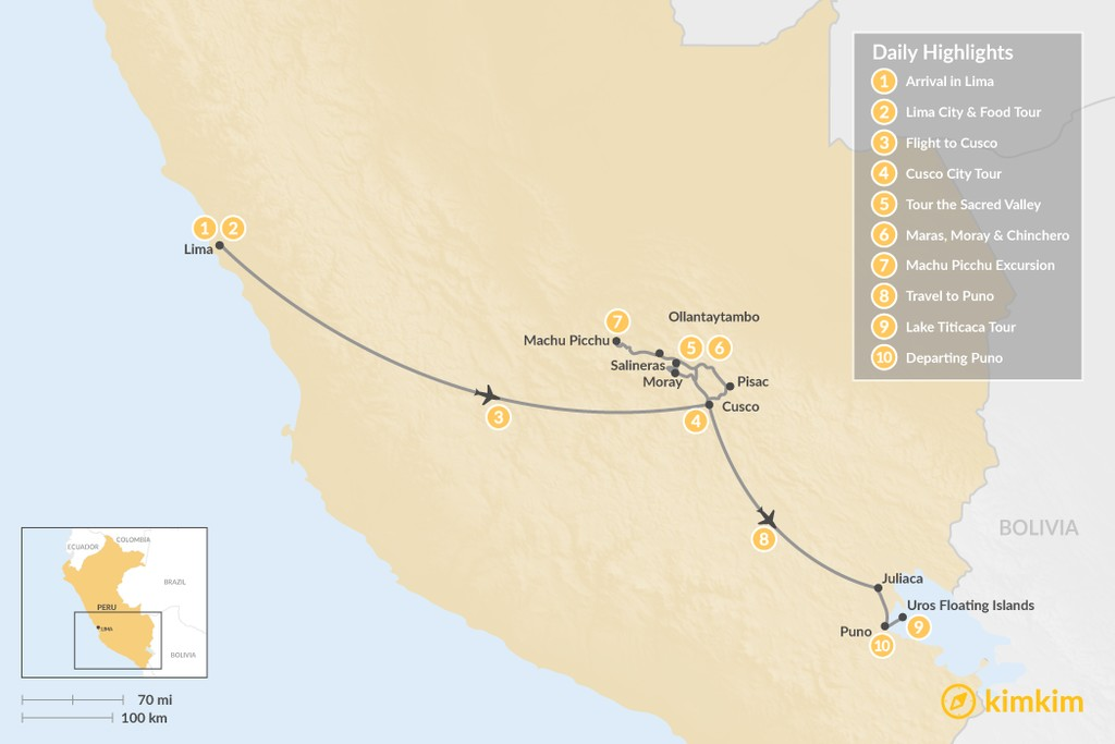 Map of Lake Titicaca & Sacred Valley Adventure - 10 Days