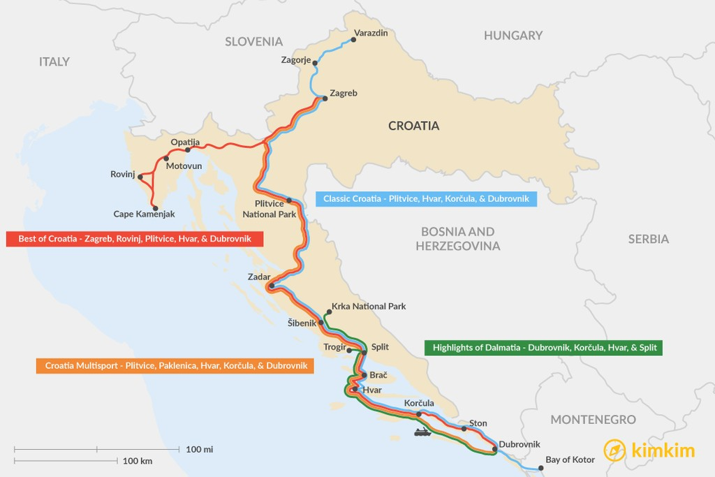 Map of 15 Days in Croatia - 4 Unique Itinerary Ideas