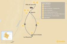 Map thumbnail of Bogotá, Caño Cristales, & Highlands Tour - 8 Days