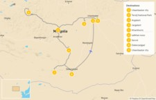 Map thumbnail of Highlights of Mongolia: Ulaanbaatar, Terelj National Park, Singing Sand Dunes, & More - 10 Days