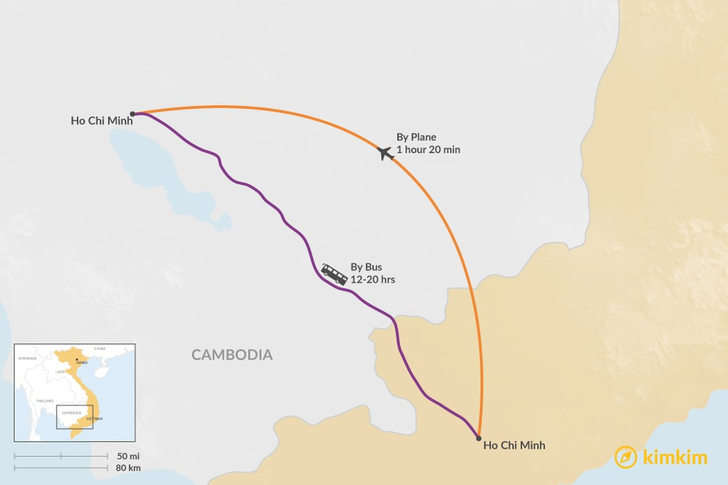 Map of How to Get from Ho Chi Minh City to Siem Reap