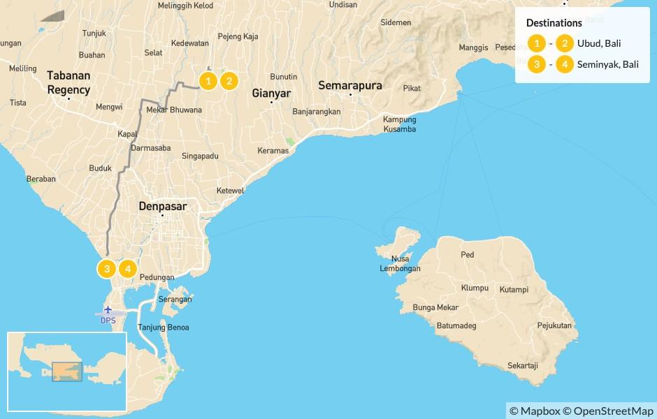 Map of Bali Adventure: Ubud, Nusa Lembongan, & Seminyak - 5 Days