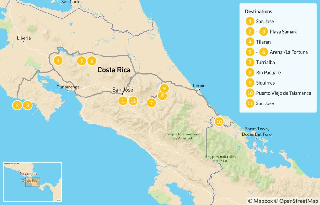 Map of Overland Biking Adventure From the Coast to Arenal - 12 Days